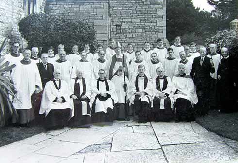 Eric (centre, fourth from right) with the clergy, choir and lay readers at St Mary's in 1939. Photograph by Joan Muspratt.