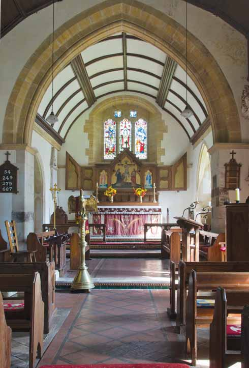 The chancel in Shapwick's parish church of St Bartholemew