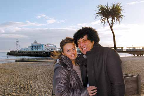 Ray and Britta on Bournemouth beach, February 2015