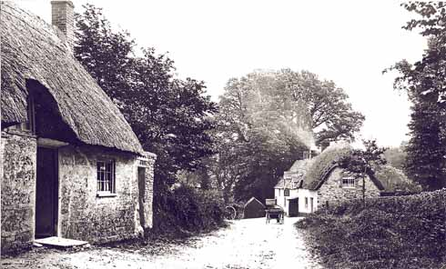 Studland in the 1880s. Looking down Manor Road towards Little Beach, the cottage on the left is the original (now demolished) village pub, the New Inn, renamed the Wellington Inn by William Lawrence. On the right is the building now known as the Bankes Arms. In the 1880s it was in use as a pub then called, accurately if confusingly, the New Inn.
