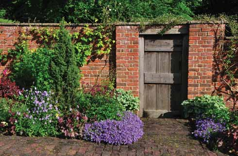 The entrance to the garden is through a wooden door in the west wall