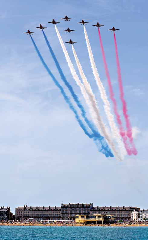 This was Weymouth Carnival day in 2013 as the Red Arrows flew out across the bay