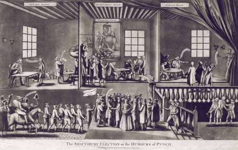 The electors in the Shaftesbury 1774 election, as shown in a cartoon from the following year after the election's result had been overturned owing to allegations of bribery