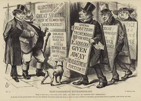 Exactly 100 years after the corrupt election of 1774, politicians had evidently graduated from bribing individual electors to attempting to bribe the entire electorate. The third Reform Act in 1884 extended the same rights to rural voters as had been granted bt the 1867 Act.
