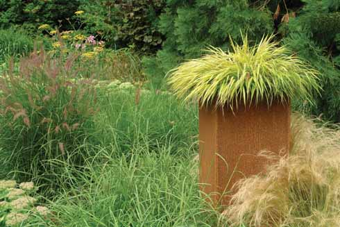 Grasses appear planted naturally and in containers for sculptural effect
