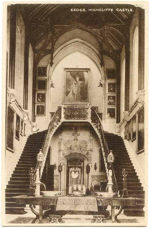 The Great Hall in the castle's heyday, showing the double stair (Alwyn Ladell)