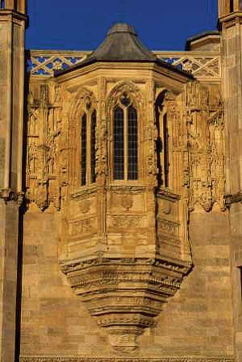 The fine oriel window is known as the King's Oriel because in the manor house of Les Andelys, it lit the room in which King Antoine of Navarre died from wounds after the siege of Rouen in 1562