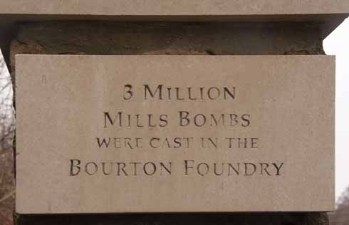 The pillars of the gates to the one-time Bourton foundry with its breathtaking World War 1 manufacturing statistics relating to the grenades (Mills bombs) made on site