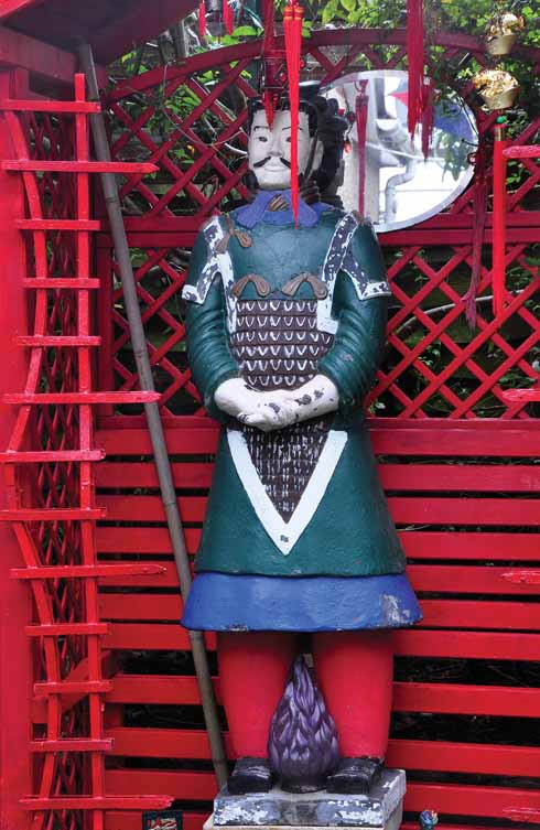 A terracotta warrior from China painted in unique colours