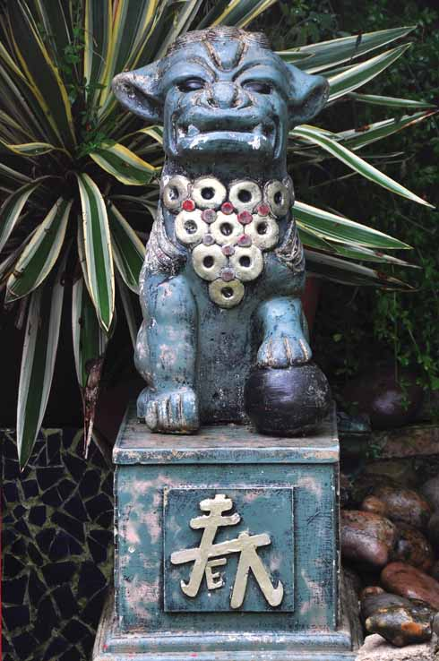 One of the many statues discovered on the owners' travels