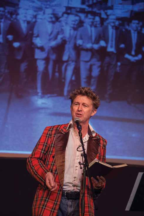 On stage in Glasgow at a celebration of the life of Tony Benn, 30 November 2014