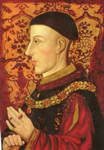 ❱ The famous and, in fact, only extant likeness of Henry V showing his fashionable 'tonsure' and painted side-on, contrary to the customary three-quarters pose. This is probably because Henry received a serious and disfiguring arrow-wound at the Battle of Shrewsbury in 1403 and although tactfully no contemporaries ever passed comment on this the right side of his face must have been a bit of a mess.