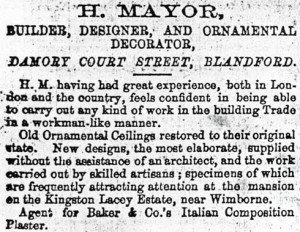 Henry Mayor's advert from the Blandford Express, 24 September 1870