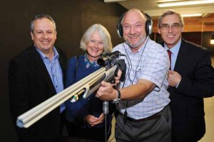 onathan (left) at the launch of the Acoustic Shooting Club with Cathy Cox of Talbot Village Trust, which funded the equipment, Ray Gunning, the DBA volunteer whose brainchild the club is and John Lever, former head of Canford School, which provides free use of its rifle range