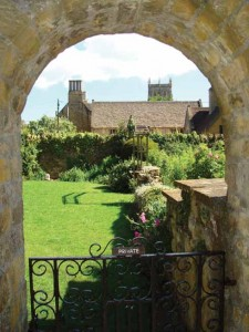 The gateway to the Powell Theatre's garden, close to Sherborne Abbey