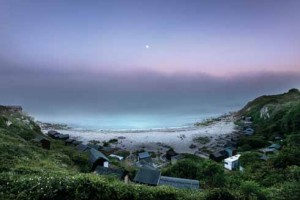 Moonlight and sea fog at Church Ope Cove on the Isle of Portland