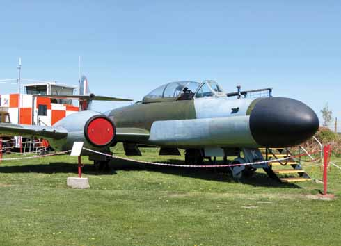 The museum's well turned-out Meteor twin-jet night-fighter shows off its long nose, which was once fitted with radar to seek out enemy aircraft