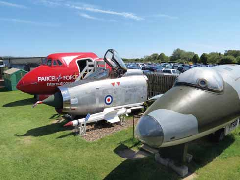 Three of the museum's aircraft noses: pillar-box red Parcel Force Viscount, former Saudi Air Force Lightning fighter and hefty camouflaged Canberra