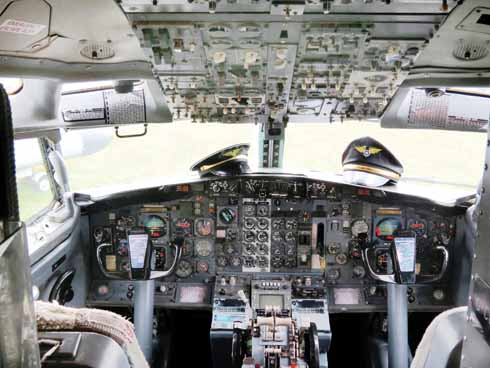 The museum's former Palmair Boeing 737 passenger jet features a beautifully-preserved cockpit
