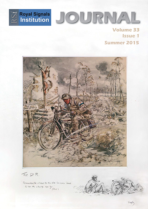 "The picture on the cover is a sketch by the World War 1 war artist 'Snaffles' held in the Royal Signals Museum; but who is Snaffles and what is the inscription that he wrote on the picture mount?   Charlie Johnson Payne, aka Snaffles, was born in 1884; he was a bootmaker's son and the fourth of eight children. From an early age his twin passions were horses and the military.  His initial attempt to join the Army in order to fight in the Boer War was thwarted as he was too young. In 1902, when he finally reached 18, he enlisted into the Royal Garrison Artillery where he learnt to ride but ill-health forced his departure in 1906. It was during this time that he also produced his first semi-caricature portraits.  He re-joined the Army at the outbreak of World War 1 but was soon invalided out after a very bad fall. Snaffles then took a job as a war artist; producing many works which reflected the horrors of trench warfare and life on the Western Front.   In the 1920s Snaffles gained a reputation as a sporting artist; particularly focusing on equine sports and, where possible, the military at play. His prints of 'pig­sticking' in India in the late 1920s are some of his finest works.  Snaffles built an element of humour into his work and the captions to his subjects were often as important as the artwork. Our cover picture is no exception; the inscription reads ""Remarkable close to the old busses 'ead' to let the shots go by (RK)"". The RK refers to Rudyard Kipling, another of Snaffles' childhood influences. Indeed the quote is a slight twist on a line from a Kipling poem entitled 'M.I.' (Mounted Infantry of the Line); the line goes ""Remarkable close to my 'orse's neck to let the shots go by"".  Snaffles died in 1967 aged 83 after a life as a true Victorian."