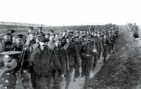 German prisoners are escorted from Dorchester camp on their way to work in the area