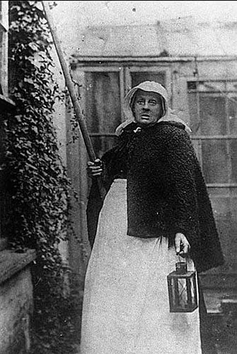 Granny Cousins pictured in her full work rig and with an expression hard to describe as warm. This was the postcard image that she and Harrie Belbin would sell.