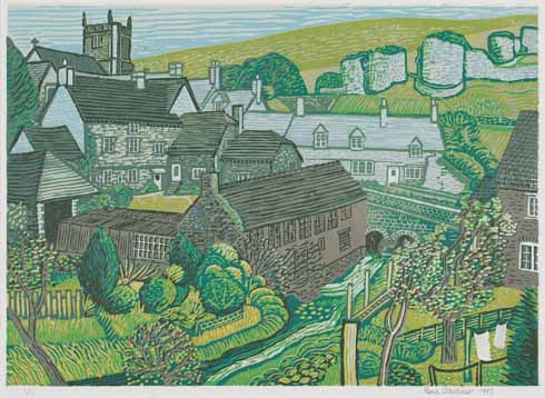 A view of Corfe Castle village, Dorset, 1997, linocut