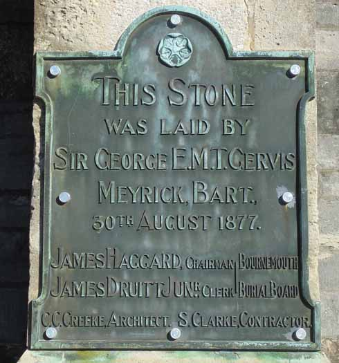 The chapel plaque, celebrating the official laying of the stone in 1877 by Sir George Meyrick