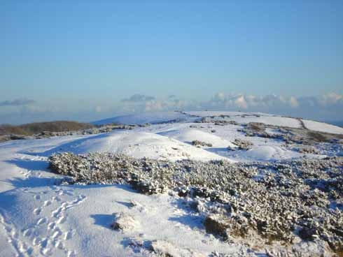 Separating the gaps at Corfe Castle and Ulwell, Ailwood Down is shown here in the snow