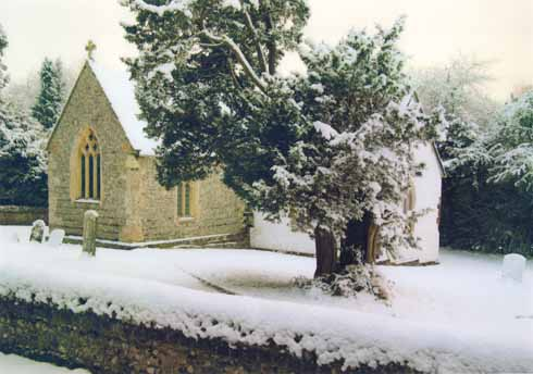 Deep and crisp and even lies the snow over St Mary's church and its yew tree