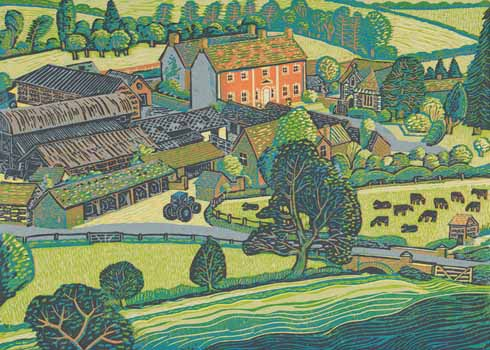 Rena Gardiner's view of Tarrant Rawston with the church in its farming setting