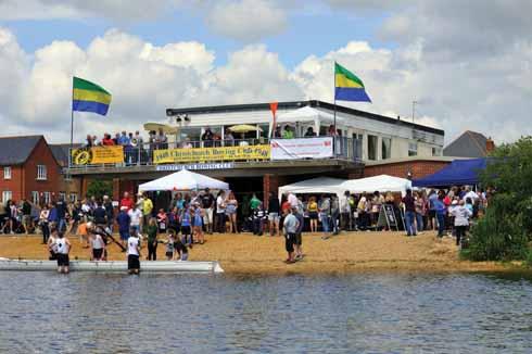 The clubhouse en fête for Regatta Day