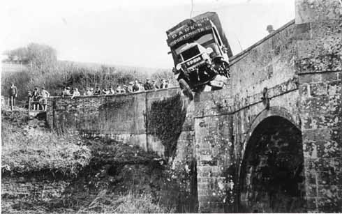 Durweston Bridge showing the results of a collision between lorry and stone parapet that has been happening to Dorset's bridges since the invention of the lorry