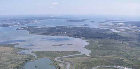 An aerial view of the north-western end of Poole Harbour