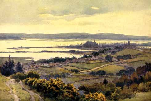 An artist's impression of Poole Harbour from Constitution Hill