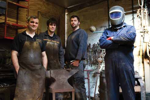 Bill with Sixpenny Forge colleagues including a welder (far right) known only as 'The TIG'
