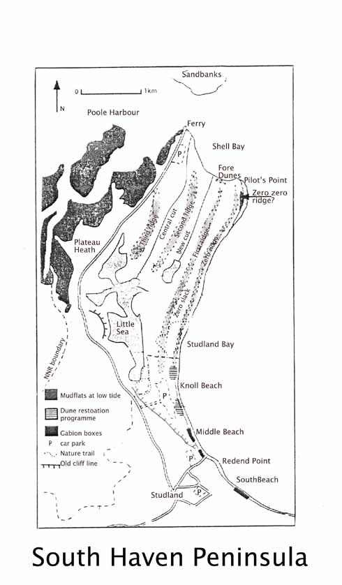 A map showing some of the key points of the Studland peninsula