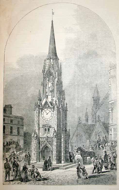 How the tower was intended to look (complete with clock and monument to the Duke of Wellington)