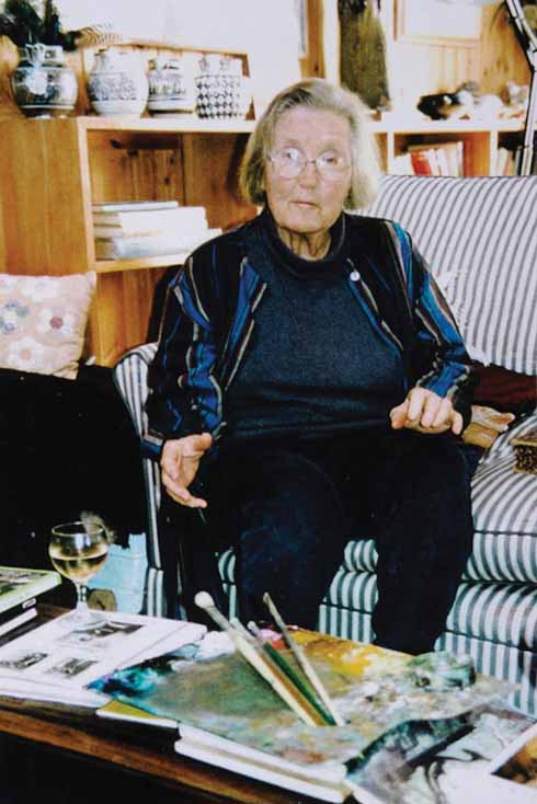 Kitty in her studio at Sutton House, 1986