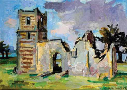 Kitty's 1987 painting: Knowlton Church, Dorset
