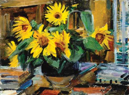 Kitty's 1990 painting: Sunflowers in the Bernard Leach pot, Sutton House, Studio
