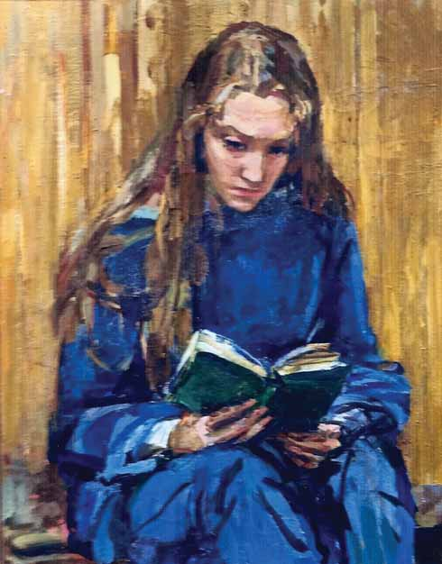 Shown at the Hambledon Gallery in 1984, Kitty's 1978 painting: Victoria Suffield, reading, aged 12 Years