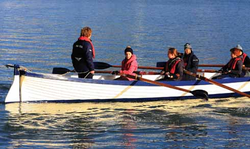 Young rowers in action
