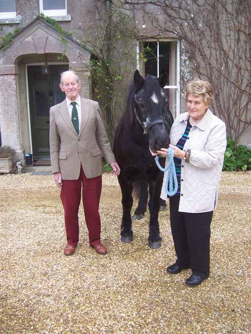 Jim and Wendy Richards outside Newton Farm with Bathsheba, a 23-year-old Welsh cob. Wendy Richards bred and showed prize-winning Welsh cobs for over thirty years.