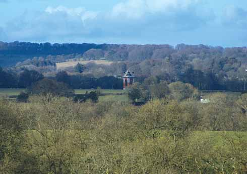Distant views over to the folly at Larmer Tree Gardens