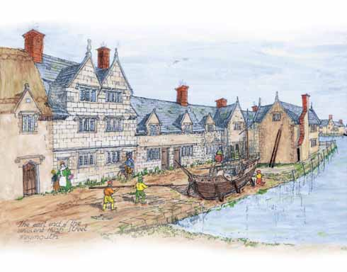 A reconstructive drawing of the Tudor House when new, by Eric Ricketts