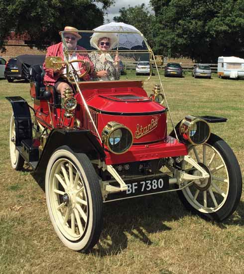 Alice, the now completed Stanley Steamer, at Breamore country house, July 2015