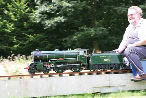 Richard Knott driving steam loco Tonbridge at Littledown, the club track of the Bournemouth & District Society of Model Engineers