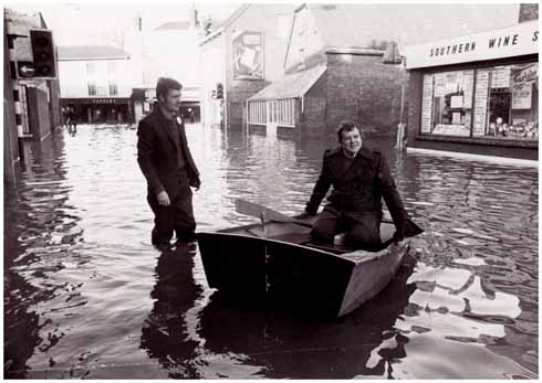The River Stour running through Wimborne in 1979 with then Mayor Chris Bulteel persuaded into a boat borowed by the author for the sole purpose of creating a shamelessly contrived local newspaper shot (image: Simon N Rowley)