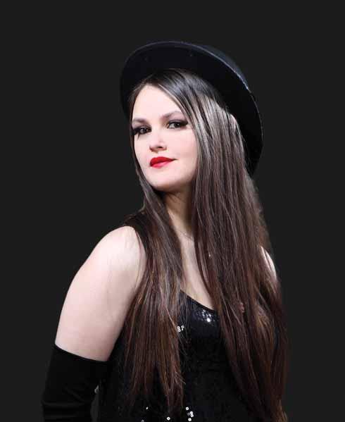 Samantha in glammed-up cabaret mode
